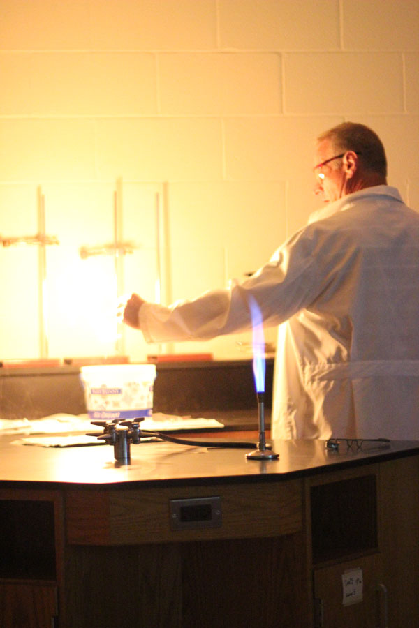 Mr. Blanton wows his Chemistry II class with a demonstration. Photo by Kenzie Borland.