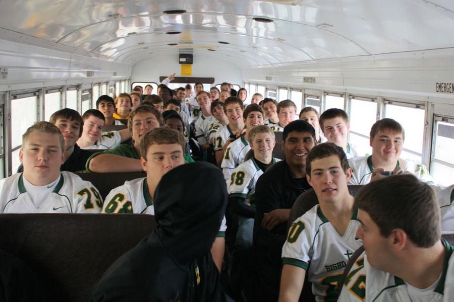 The football boys are excited for the  Salina South game tonight.