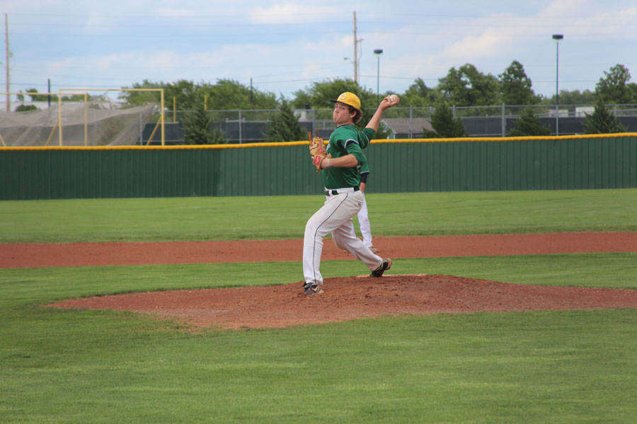 Junior PJay Henning pitching during Fridays intersquad game. Photo by Caleb Hudspeth