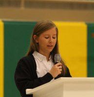 Julia Howey giving her speech Thursday morning