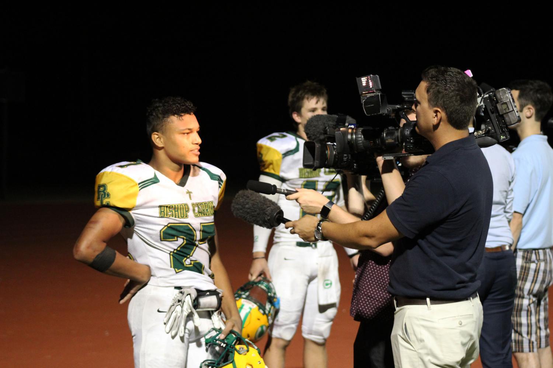 Desmond Smith being interviewed after last Thursdays Northwest victory.