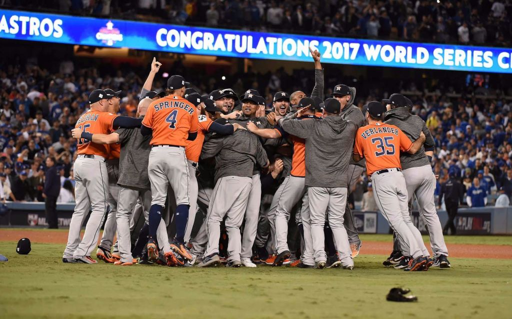 Chaos ensued after the last out of the World Series