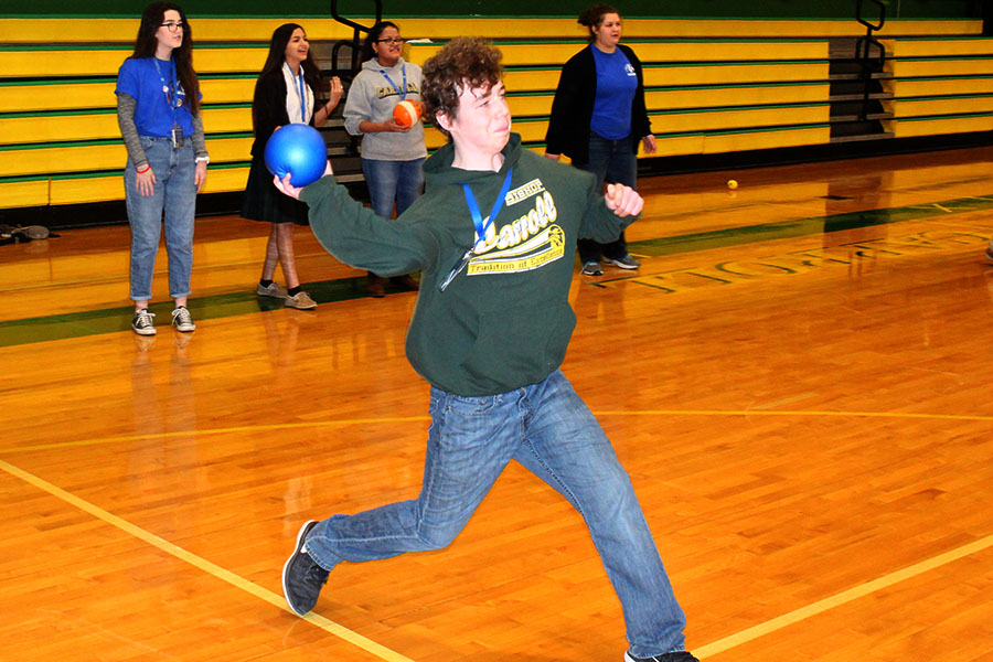 Patrick Cooke fires a ball during Community Day on Monday. On Tuesday, students will get an academic-free Community Day.
