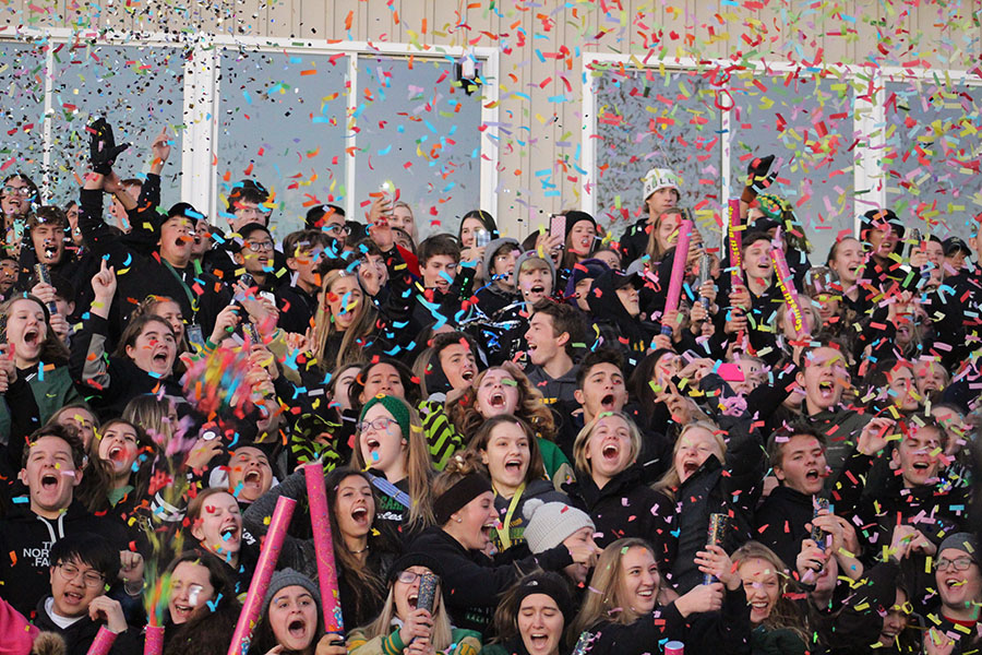 BC students were fired up during the Homecoming victory over Kapaun.