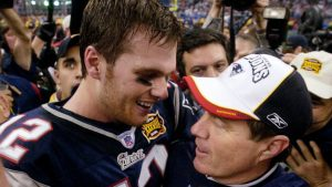 Tom Brady and Bill Belichick celebrate their Super Bowl 38 victory back in 2004