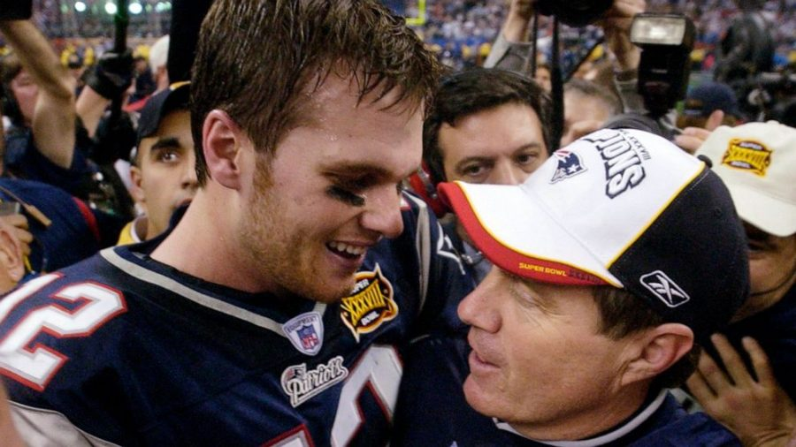 Tom+Brady+and+Bill+Belichick+celebrate+their+Super+Bowl+38+victory+back+in+2004