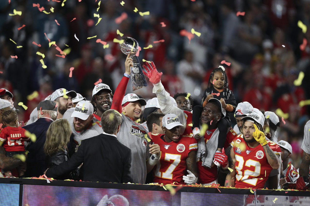 The Chiefs led by Patrick Mahomes, celebrate their first Super Bowl Championship in nearly 50 years